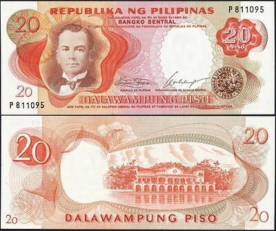 Philippines 4-Piece 1969 Unc Banknote Set, 1 To 20 Piso
