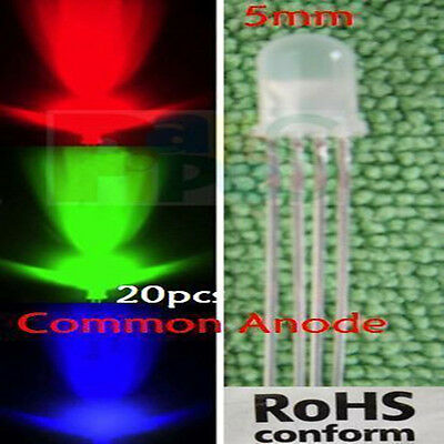 10pc 5mm Diffused RGB red/blue/green LED Common Anode 4-Pin Tri-Color 3v-12v L4P