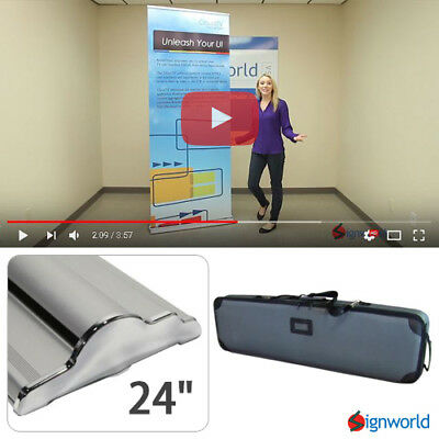 Retractable Roll Up Banner Stand Height Adjustable Trade Show Display HD 24""
