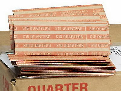 New 1000 Quarter Paper Coin Wrappers 1,000 Count MMF Flat Pop-Open hand machine
