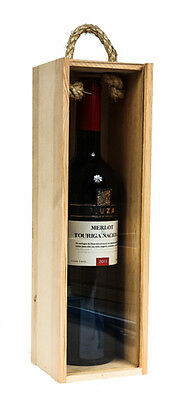 Qty (1) Single Bottle Wood Wine Box Carrier Wood Front Lucite Sliding Lid