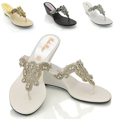 Womens Low Wedge Heel Sandals Ladies Toe Post Diamante Sparkly Holiday Shoes 3-9