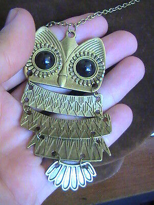 Fashion Pendant  vintage Colorful Cute OWL Bronze or Silver  necklace