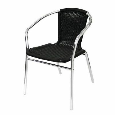 4x Cafe Chairs, Outdoor & Garden, Aluminium and Wicker, Black, Stackable, Bolero