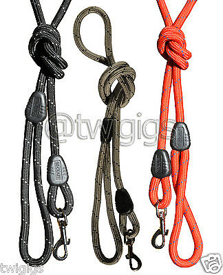 NEW Hi-Craft Dog Lead Traditional Trigger 10mm Nylon Rope Red, Black or Silver
