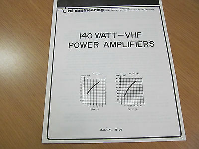 VHF ENGINEERING PA140/10 and PA140/30 Power Amplifiers Manual  45871