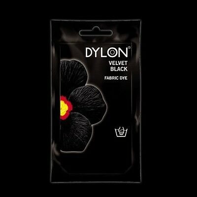 Dylon VELVET BLACK HAND DYE 50g Fabric Cotton Linen Clothes Material Jean Colour