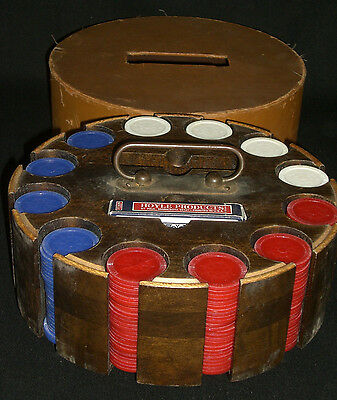Vintage Poker Chips Set With Covered Wood Caddy / Revolving Carousel (E2)