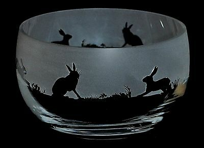 *HARE GIFT*  Boxed 12.5cm CRYSTAL GLASS SWEET BOWL with HARE FRIEZE