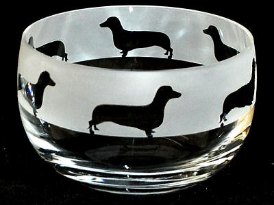DACHSHUND FRIEZE *DOG GIFT*  12.5cm Boxed CRYSTAL GLASS SWEET BOWL