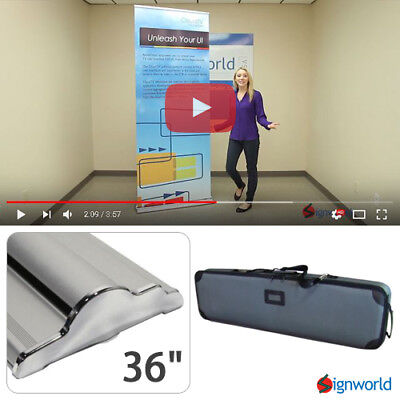 Retractable Roll Up Banner Stand Height Adjustable Trade Show Display HD 36""
