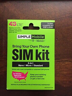 Simple Mobile 4G Lte Nano Sim Card Allows Unlimited T-Mobile Network By Simple
