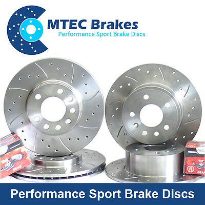 BMW 3 E90 320d 03/05- Front Rear MTEC Drilled Grooved Brake Discs Mintex Pads