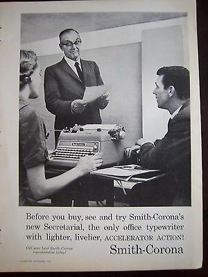 1959 Vintage Smith Corona Secretarial Typewriter Secretary Boss Ad
