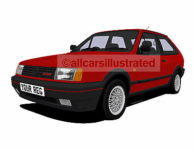 Vw Polo G40 Graphic Car Art Print Picture (Size A3). Personalise It!