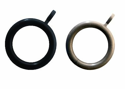 28mm Curtain Rod Pole Rings - Silver Grey or Black Ring