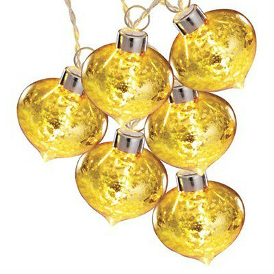 4 NEW Christmas Philips LED 6 Warm White Battery Gold Ornament Teardrop Lights