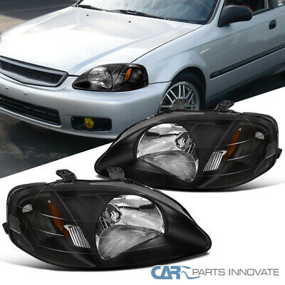 For 1999-2000 Honda Civic Replacement Black Clear JDM Headlights+Amber Reflector