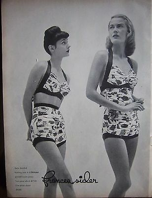 1946 Vintage Frances Sider Womens Swimsuit Bathing Suit Cohama Print Fabric Ad