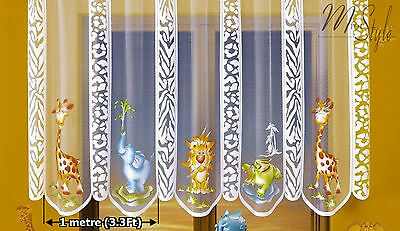 Kids Net Curtain ZOO animals Sold by the Metre Children Room Decoration SLOT top