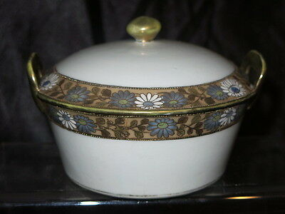 Hand Painted Nippon Butter Chiller Cheese Gold Moriage Mums Pagoda