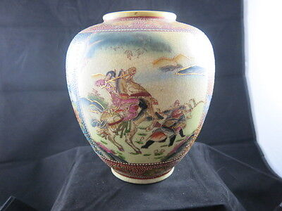 Chinese 9 Inch Large vase Moriage Beaded Decoration Woman on Horse