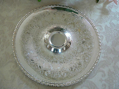 Beautiful Vintage Silver Plate Scrolled Round Serving Platter