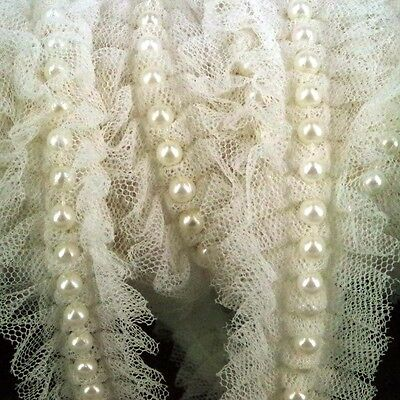 1m of Ivory  Lace and Pearl Beaded Trim Ribbon Wedding Bridal  Vintage Inspired