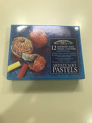 WINSOR & NEWTON Soft Artists' Pastels - Set of 12 Assorted Half Pastels NEW