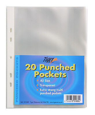 20 A5 Punched Pockets Poly Plastic Glass Clear File Document Ring Binder Wallet