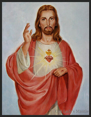 "Large 11"" x 14"" Religious Art Print Picture SACRED HEART OF JESUS by De Soto"