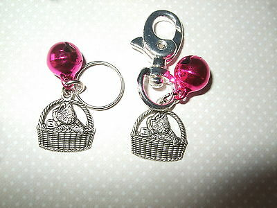 Anti-Theft Purse Bell Charm - Kitten in Basket - Security - Handmade - Pink