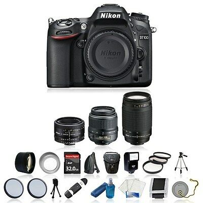 New Nikon D7100 SLR With 5 Lens Kit: 18-55mm, 70-300mm, 50mm + 32GB & Much More!