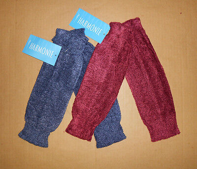 "Nwt Harmonie Legwarmers Girls 12""  Burgundy/navy Dance Ballet Warm Up"
