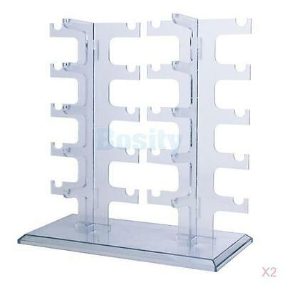 2x Clear Acrylic Sunglasses Rack Holder for 10 Pairs Glasses Display Stand 31cm