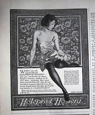 1923 Vintage Holeproof Hosiery Stockings Coles Phillips Art Ad