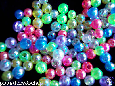 100 pcs AB colour plastic beads,round, 8 mm, assorted and pink*