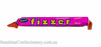 FIZZERS STRAWBERRY LOLLY - BEACON-24 pieces Pink Fizzer Lollies Post Included