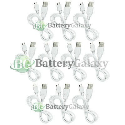 10 White Micro USB Rapid Travel Battery Charger Data Sync Cable For Cell Phone