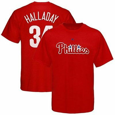 majestic philadelphia phillies 34 roy halladay red player t shirt