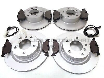 Bmw 320D E90 2005-2011 Front And Rear Brake Discs & Pads & 2 Sensors Check Size