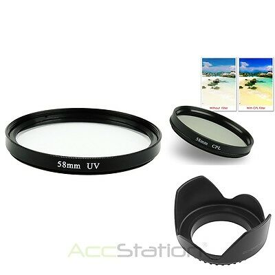 58mm Flower Lens Hood+UV+CPL filter for Canon EF-S 18-55MM 55-250mm f/4-5.6 IS