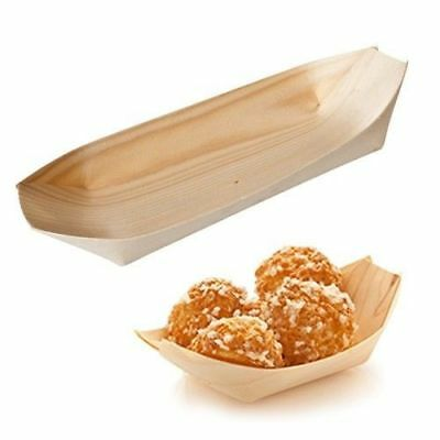 50 x Disposable Oval Boat / Dish, Biowood, Catering & Functions, 115 x 65mm