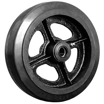 """8"""" x 2"""" Rubber on Cast Iron Wheel with Bearing - 1 EA"""