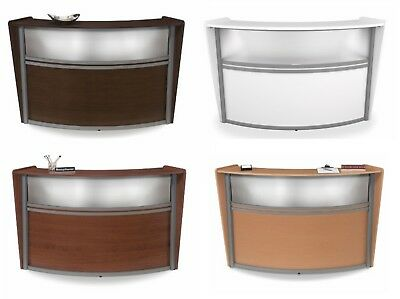 Round Reception Desk with Counter and Window Available in 3 Colors 6 by 3 feet