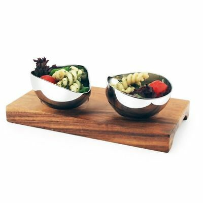 Wooden Board with 2 Stainless Steel Dishes Tapas Snacks Athena 165x85x20mm NEW