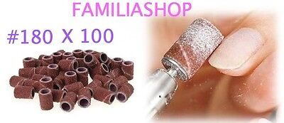 100 Embouts Manchons #180 Grain Fin 180 Ponceuse Emeri Rouleaux Lime Ongle
