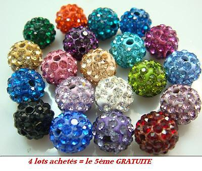 10 perles shamballa cristal strass 10mm création bijoux ENVOI RAPIDE