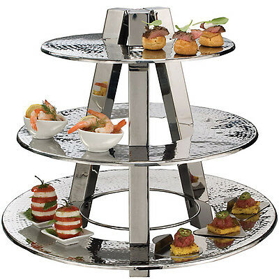 Stainless 3-Tier Hors D'oeuvre Display Stand - Commercial Appetizer Decor Tray