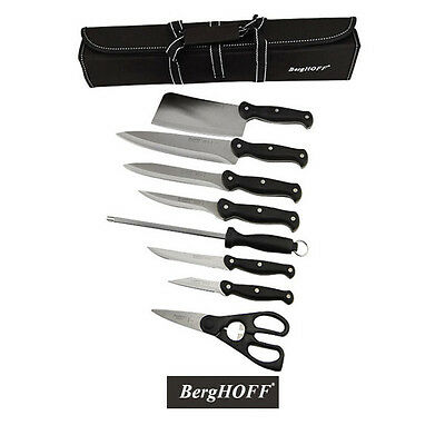 Berghoff Knife Set with Roll Bag - 9 Piece - Stainless Steel Kitchen Chef Tools